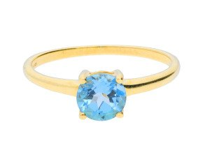 9ct Yellow Gold 1ct Topaz Round Solitaire Ring