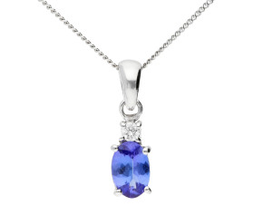 9ct White Gold 6mm Tanzanite & Diamond Oval Shape Pendant