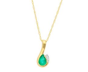 9ct Yellow Gold Emerald & Diamond Curl Pendant