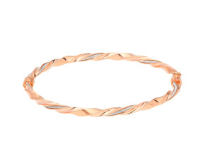 9ct Rose Gold Fancy Hinged Twist Bangle