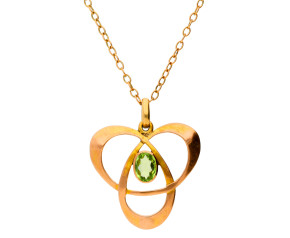 Antique 9ct Yellow Gold Peridot Pendant