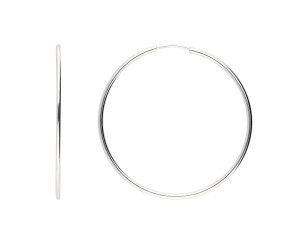 9ct White Gold 4cm Sleeper Hoop Earrings