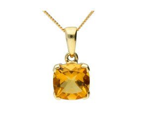 9ct Yellow Gold 2ct Citrine Solitaire Pendant