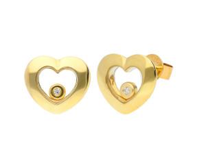9ct Yellow Gold Floating Diamond Heart Stud Earrings