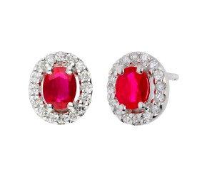 9ct White Gold Ruby & Diamond Earrings