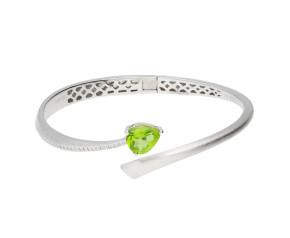 Sterling Silver & Rhodium Vermeil 1ct Peridot Shooting Star Bangle