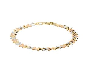 9ct Yellow White & Rose Gold Fancy Bracelet