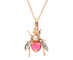 Handcrafted Italian Pearl & Pink Tourmaline Bee Pendant