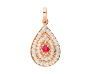 Handcrafted Italian Ruby & Seed Pearl Cluster Pendant