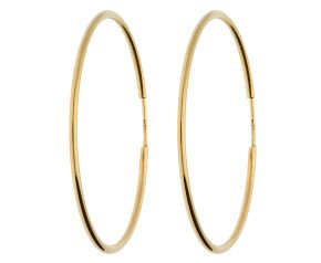 9ct Yellow Gold 40mm Fine Sleeper Hoop Earrings