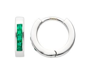9ct White Gold Emerald Hinged Hoop Earrings