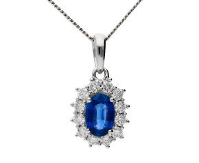 18ct White Gold 0.50ct Sapphire & 0.25ct Diamond Cluster Pendant