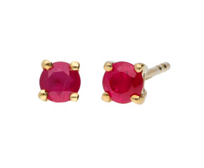 9ct Yellow Gold 3mm Ruby Solitaire Round Shape Stud Earrings