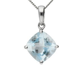 9ct White Gold 1.80ct Aquamarine Solitaire Pendant