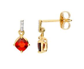 9ct Gold Garnet & Diamond Drop Earrings