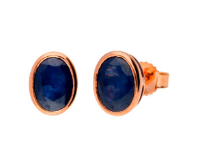 9ct Rose Gold 1.90ct Oval Sapphire Solitaire Stud Earrings