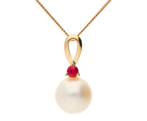 9ct Yellow Gold Pearl & Ruby Pendant