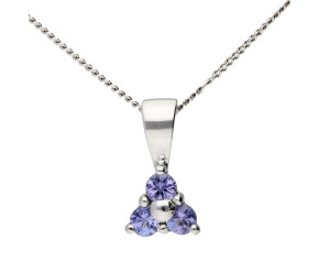 9ct White Gold 0.12ct Tanzanite Cluster Pendant