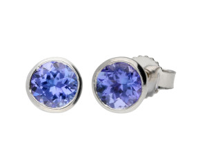 9ct White Gold 0.50ct Round Tanzanite Solitaire Stud Earrings