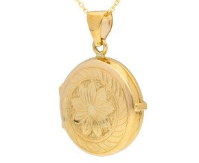 9ct Yellow Gold Round Floral Locket