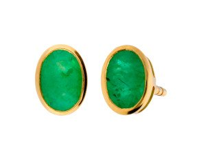 9ct Yellow Gold 6mm Emerald Solitaire Oval Shape Stud Earrings