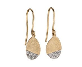 9ct yellow Brushed Gold & Diamond Drop Earrings