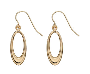 9ct Yellow Gold Oval Open Drop Earrings