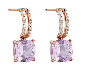 9ct Rose Gold Amethyst & Diamond Drop Earrings