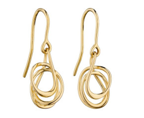 9ct Yellow Gold Twirl Drop Earrings