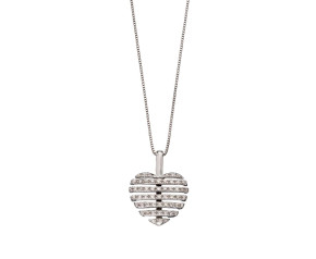 9ct White Gold Split Diamond Heart Pendant