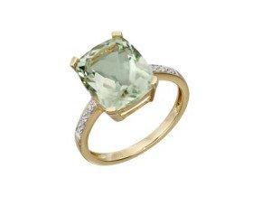 9ct Yellow Gold Green Amethyst & Diamond Dress Ring