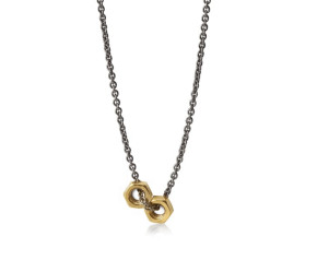 Sterling Silver with Black & Gold Plate Hex Nut Necklace