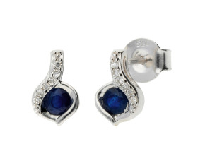 9ct White Gold Sapphire & Diamond Earrings