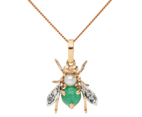 Handcrafted Italian Emerald, Pearl & Diamond Bee Pendant
