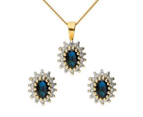 9ct Yellow Gold Sapphire & Diamond Cluster Pendant & Earring Jewellery Set