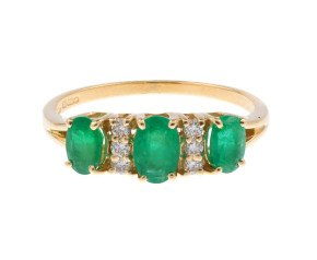 18ct Yellow Gold 1.05ct Emerald & Diamond Dress Ring