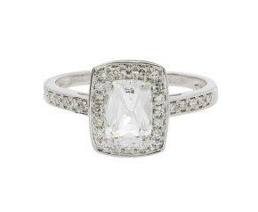 9ct White Gold Topaz & Diamond Dress Ring