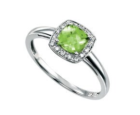 9ct White Gold Peridot & Diamond Dress Ring