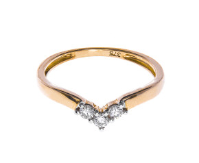 9ct Gold Diamond Wishbone Ring