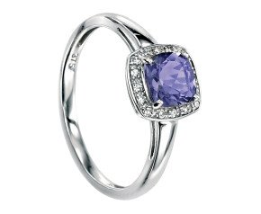 9ct White Gold Iolite & Diamond Dress Ring