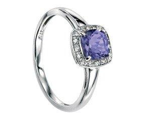 9ct White Gold Iolite & Diamond Dress Ring