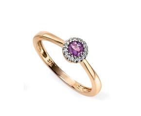 9ct Gold Amethyst & Diamond Dress Ring