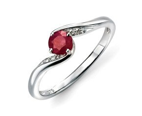 9ct White Gold Ruby & Diamond Dress Ring
