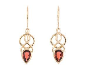 9ct Gold Garnet Celtic Drop Earrings