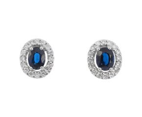9ct White Gold Sapphire & Diamond Cluster Earrings