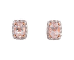 9ct Rose Gold Morganite & Diamond Cluster Earrings
