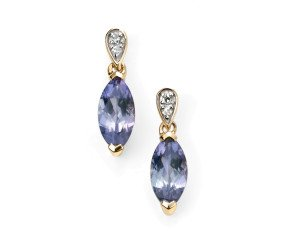 9ct Yellow Gold Tanzanite & Diamond Drop Earrings