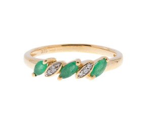 Emerald rings buy online free insured uk delivery 9ct yellow gold 025ct emerald 005ct diamond dress ring aloadofball Gallery
