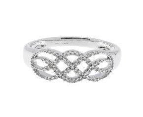 9ct White Gold 0.10ct Diamond Dress Ring