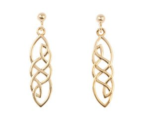 9ct Yellow Gold Celtic Style Drop Earrings